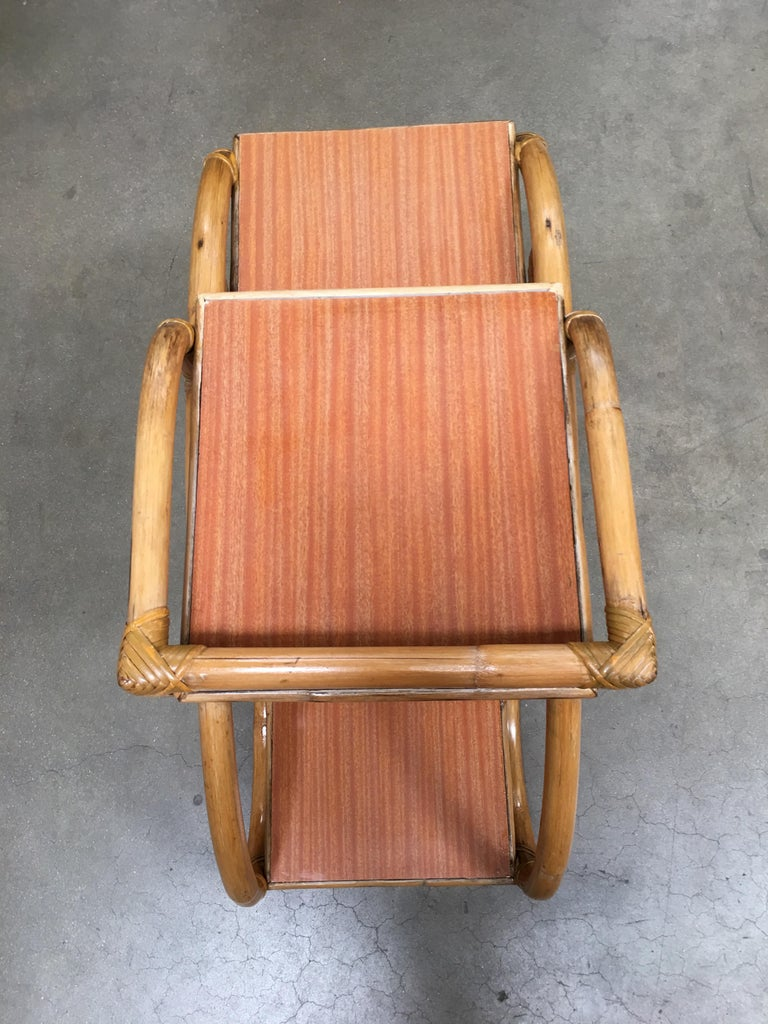Restored Rattan Side Table with Three-Tier Formica Tops, Pair For Sale 2