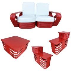 Restored Red Paul Frankl Style Six-Strand Square Pretzel Livingroom Set