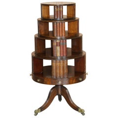 Restored Regency circa 1810 Revolving Mahogany Library Bookcase with Faux Books