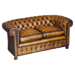 Restored Rich Cigar Brown Leather Chesterfield Club Sofa Feather Filled Cushions