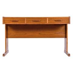 Restored Roll-Top Vi-Ma Danish Teak Desk with Hidden Filing Cabinet
