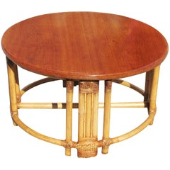 Restored Round Rattan Coffee Table with Mahogany Top and Fancy Wrapping