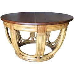 Restored Round Rustic Rattan Coffee Table with Mahogany Top and Fancy Wrappings