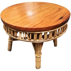 Restored Round Stick Rattan Coffee Table with Mahogany Top