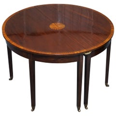 Restored Sheraton Revival Mahogany Extending Round to Oval Table Seats 4-8