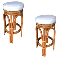 Restored Single Stand Arched Double Stacked Rattan Bar Stool