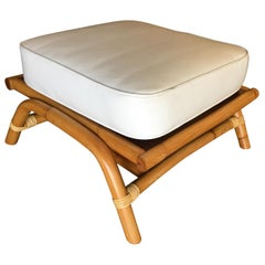 """Restored Single Stand Rattan Arched """"Hopper"""" Ottoman Stool"""