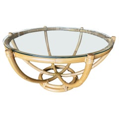 Restored Six-Pole Rattan Coffee Table with Floating Glass Top