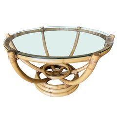 Restored Six-Pole Rattan Stacked Base Coffee Table with Floating Glass Top