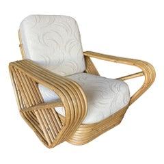 Restored Six-Strand Square Pretzel Rattan Lounge Chair with Ottoman