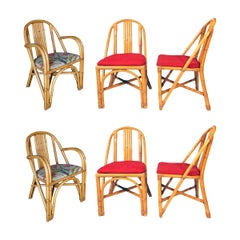 Restored Slat Leg Rattan Dining Chair, Set of Six
