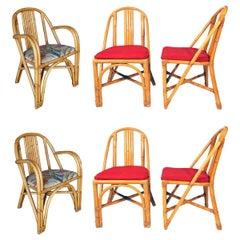 Restored Slat Leg Rattan Dining Chair, Set of Six