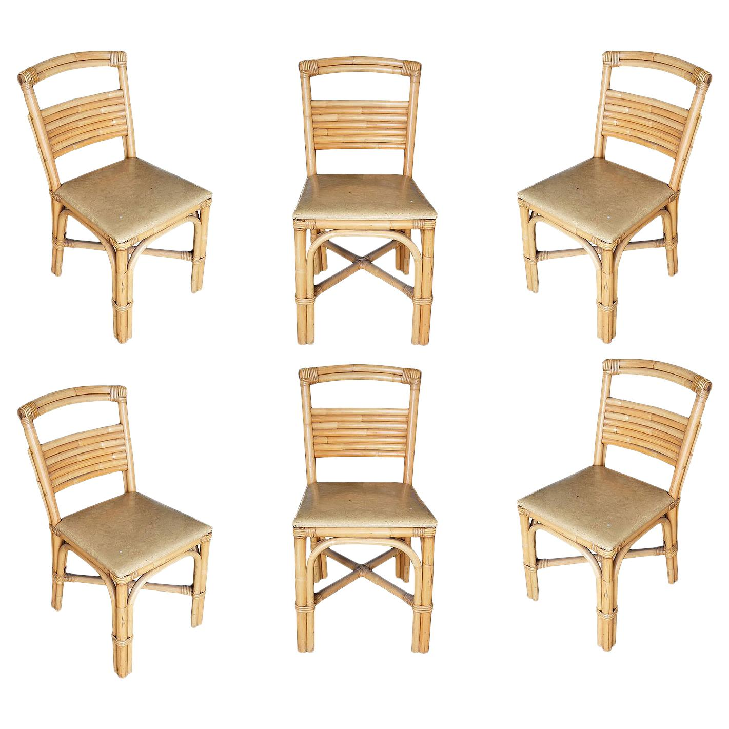 Restored Slat Legs and Back Rattan Dining Chair, Set of Six