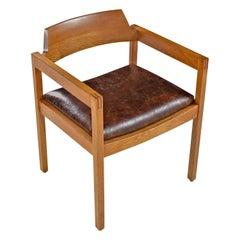 Restored Solid Oak Gunlocke Leather Armchair