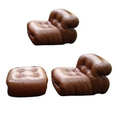 Restored Soriana Lounge Chairs and Ottoman by Afra & Tobia Scarpa for Cassina