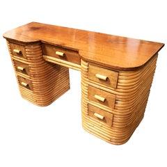 Restored Stacked Rattan Secretary Desk made with Mahogany