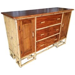 Restored Paul Frank Stacked Rattan Sideboard with Mahogany Top