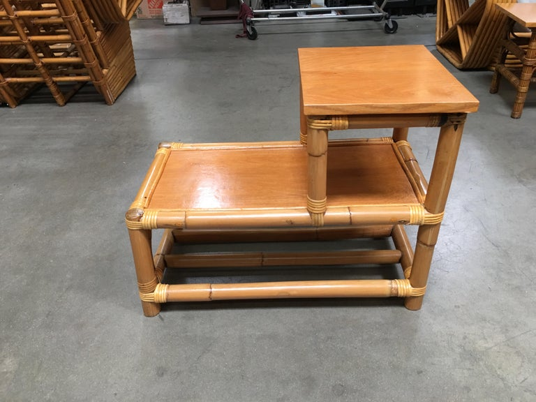 American Restored Stick Leg Rattan Side Table with Two-Tier Wood Tops For Sale