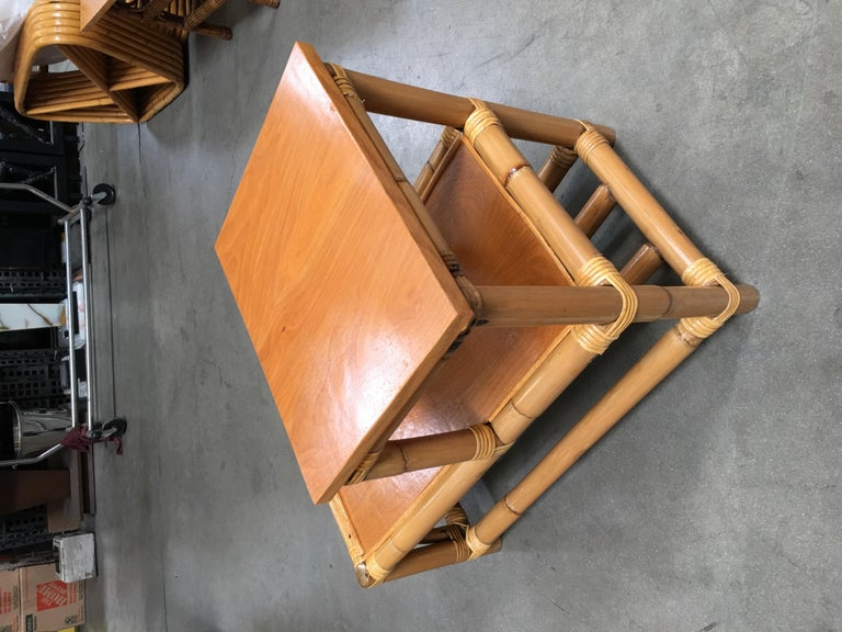 Restored Stick Leg Rattan Side Table with Two-Tier Wood Tops In Excellent Condition For Sale In Van Nuys, CA