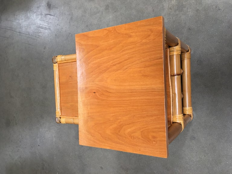 Mid-20th Century Restored Stick Leg Rattan Side Table with Two-Tier Wood Tops For Sale