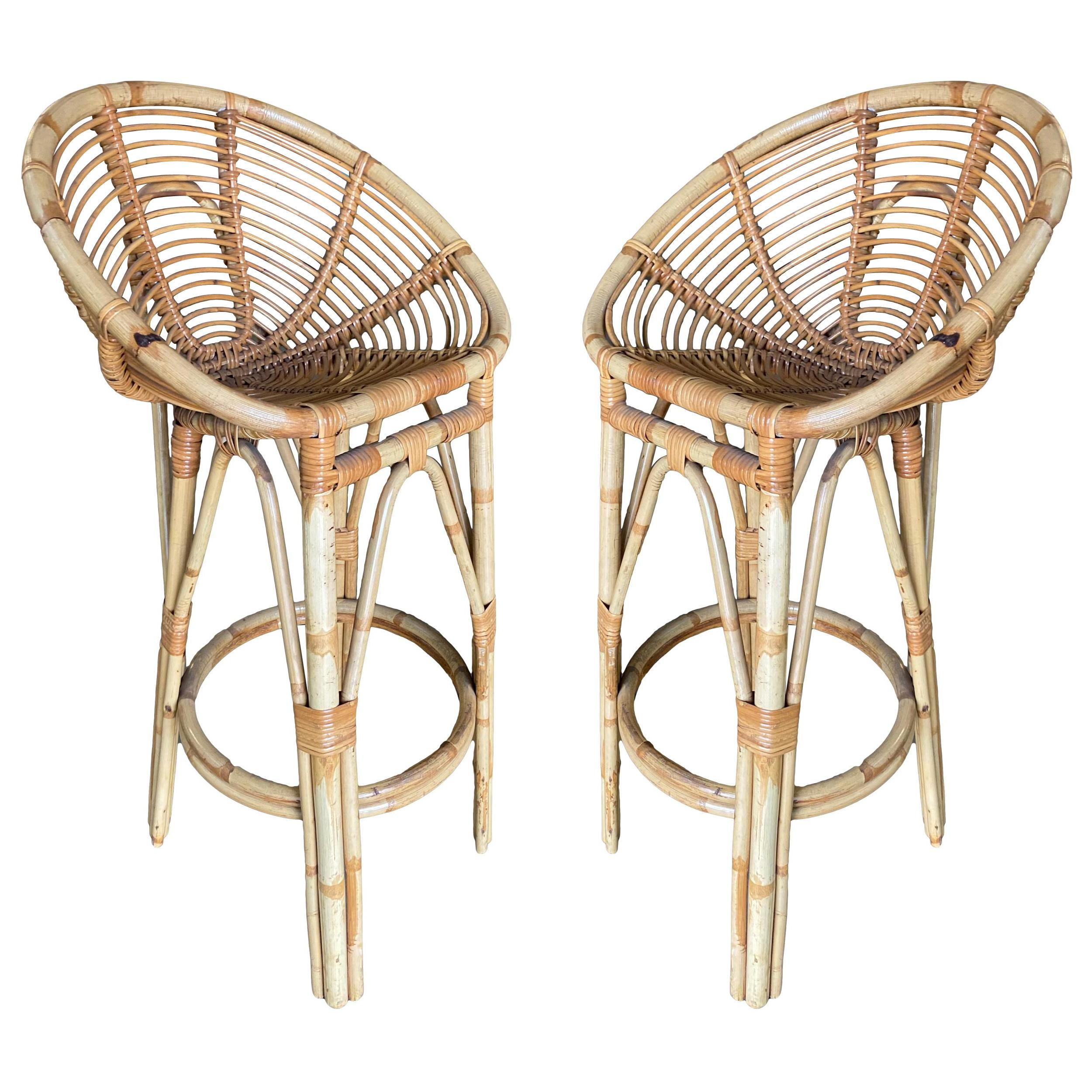 Restored Stick Rattan Bar Stools in the Manner of Albini, Pair