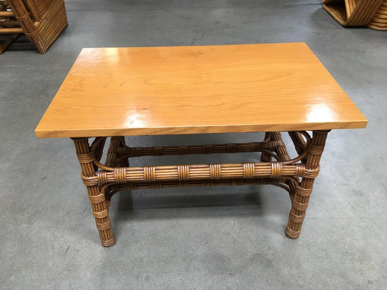 American Restored Stick Rattan Side Table with Bleached Mahogany Top For Sale