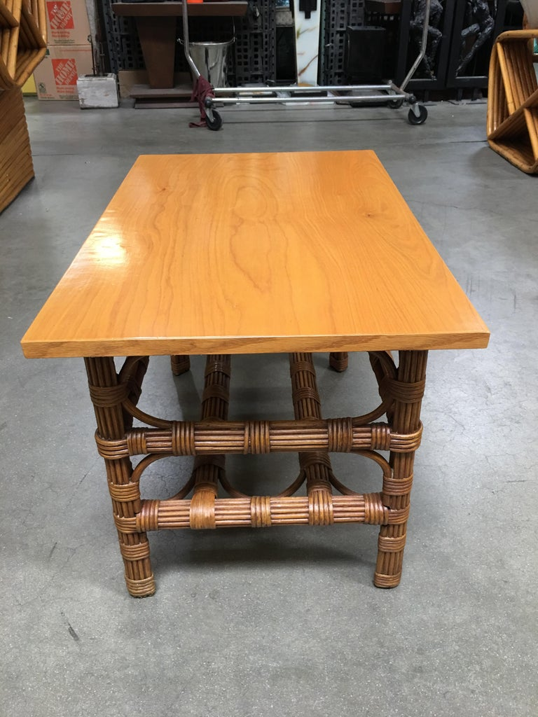 Restored Stick Rattan Side Table with Bleached Mahogany Top In Excellent Condition For Sale In Van Nuys, CA