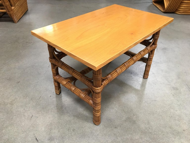 Mid-20th Century Restored Stick Rattan Side Table with Bleached Mahogany Top For Sale