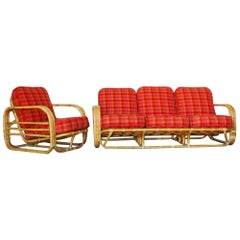Restored Streamline Art Deco Rattan Living Room Set