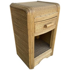 Restored Streamline Grass Mat Stick Rattan Bedside Table with