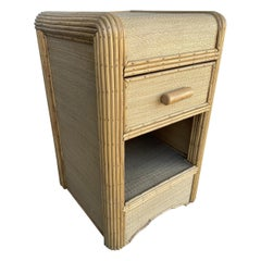 Restored Streamline Stick Rattan Bedside Table with Grass Mat Coverings
