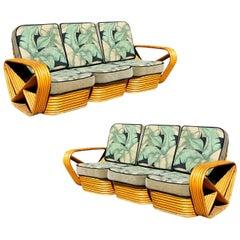 Restored Style Six-Strand Square Pretzel 3-Seat Sofa, Pair