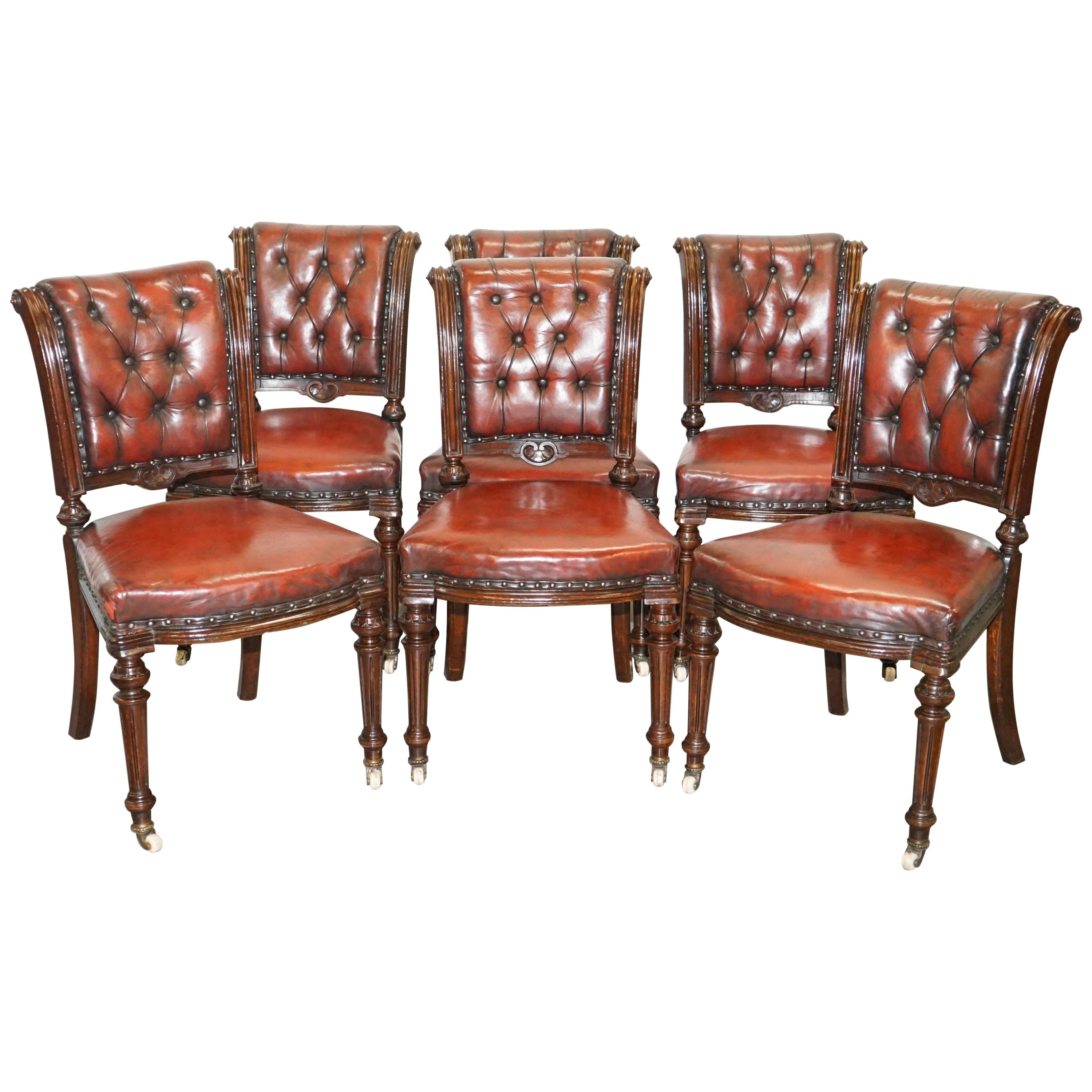 Restored Suite of Six Antque Victorian Chesterfield Brown Leather Dining Chairs