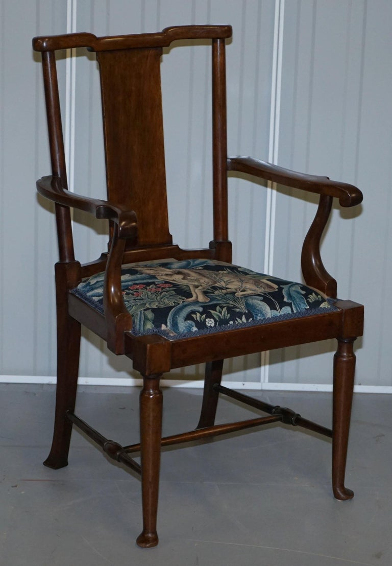 Restored Suite of William Morris Richard Norman Shaw Tabard Bench & Armchairs For Sale 3