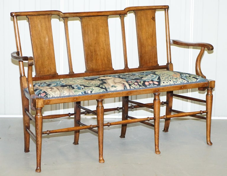 Restored Suite of William Morris Richard Norman Shaw Tabard Bench & Armchairs For Sale 6