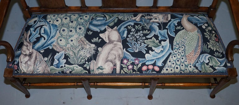 Restored Suite of William Morris Richard Norman Shaw Tabard Bench & Armchairs For Sale 8