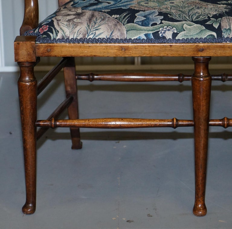 Restored Suite of William Morris Richard Norman Shaw Tabard Bench & Armchairs For Sale 10