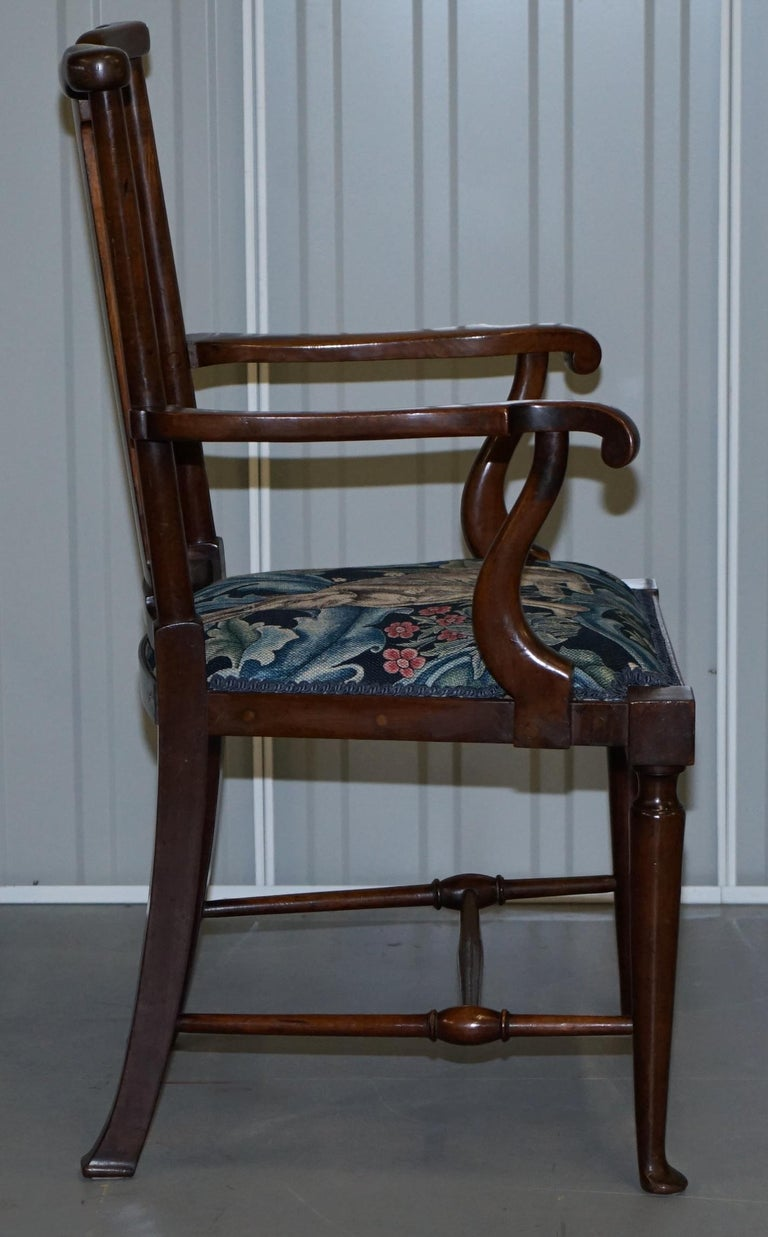 Restored Suite of William Morris Richard Norman Shaw Tabard Bench & Armchairs For Sale 1