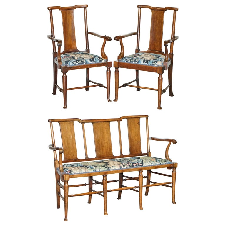Restored Suite of William Morris Richard Norman Shaw Tabard Bench & Armchairs For Sale