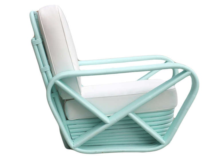 American Restored Teal Square Pretzel Stacked Rattan Armchairs in Style of Paul Frankl For Sale