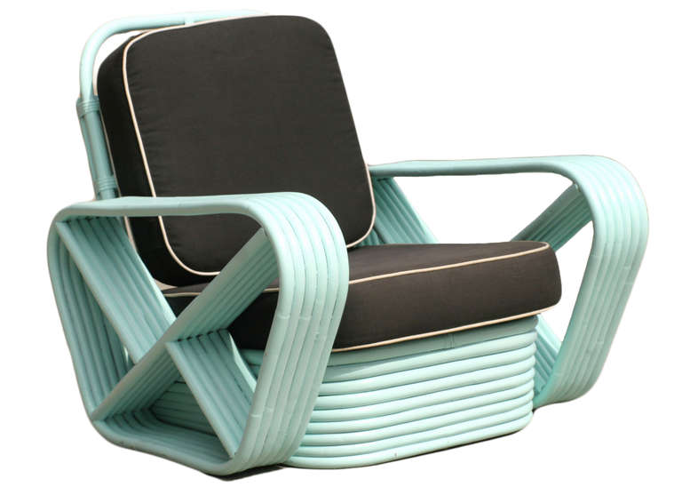 Wicker Restored Teal Square Pretzel Stacked Rattan Armchairs in Style of Paul Frankl For Sale