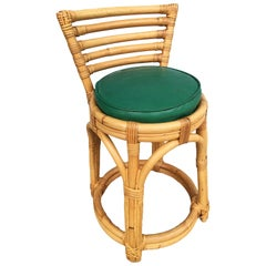 Restored Three-Stand Rattan Vanity Stool with Five-Strand Back