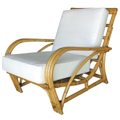 "Restored Three-Strand ""1940s Transition"" Rattan Lounge Chair"
