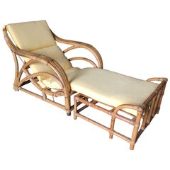 "Restored Three-Strand ""1940s Transition"" Rattan Lounge with Ottoman"