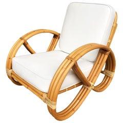Restored Three-Strand Round Full Pretzel Rattan Lounge Chair