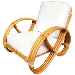 Restored Three-Strand Round Full Pretzel Rattan Lounge Chair