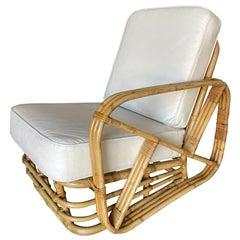 Restored Three-Strand Square Pretzel Rattan Asymmetric Lounge Chair