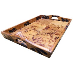 Restored Tiger Bamboo Cut Strip Serving Tray