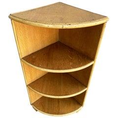 Restored Tropical Wood Corner Shelf with Rattan Boarder