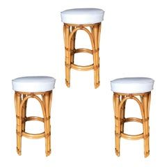 Restored Two Pole Leg Rattan Bar Stool, Set of 3